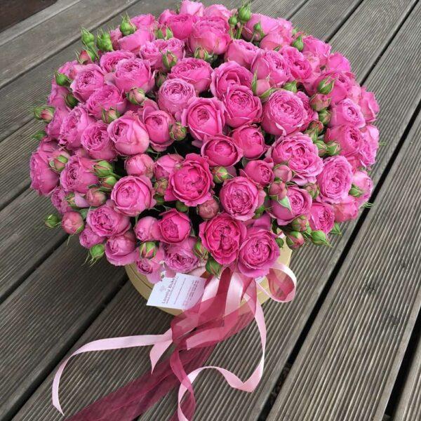 Букет пионовидных роз в шляпной коробке - фото 2