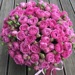 Букет пионовидных роз в шляпной коробке - фото 1