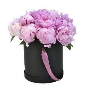 Розовые пионы в шляпной коробке - фото 1