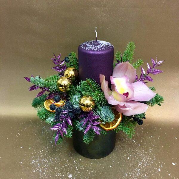 Композиция новогодняя с орхидеей - фото 1