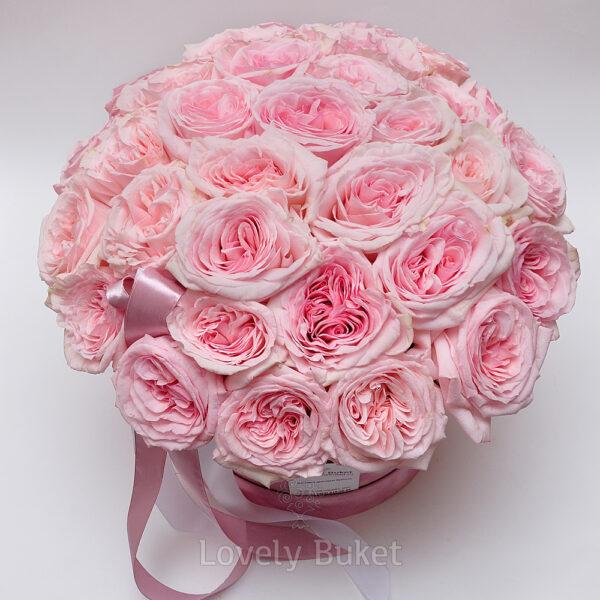 """Букет пионовидных роз с фруктовым ароматом в коробке """"Бархат"""" - фото 3"""