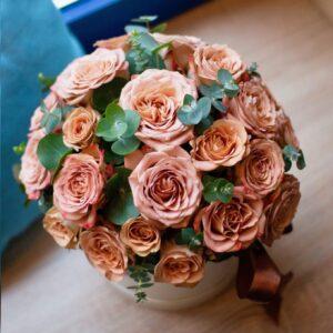 """Букет из кофейных роз в коробке """"Latte"""" - фото 1"""