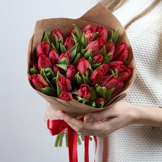 """Букет тюльпанов """"Красные тюльпаны"""" - фото 1"""