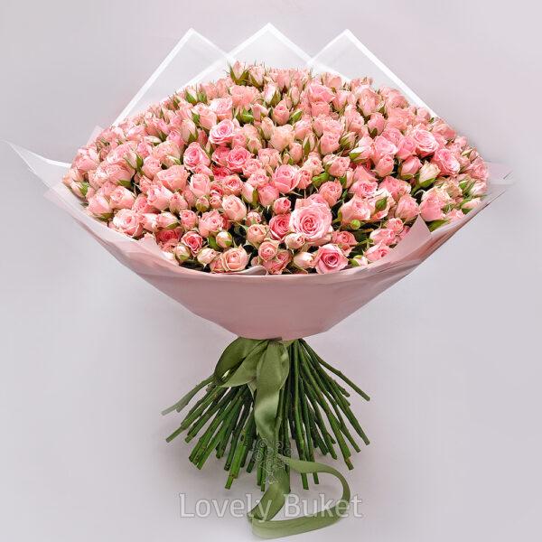 Букет из 101 кустовой нежной розы - фото 1