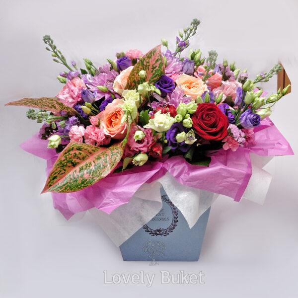 """Цветочная композиция в шляпной коробке с цветами """"Du Soleil"""" - фото 3"""