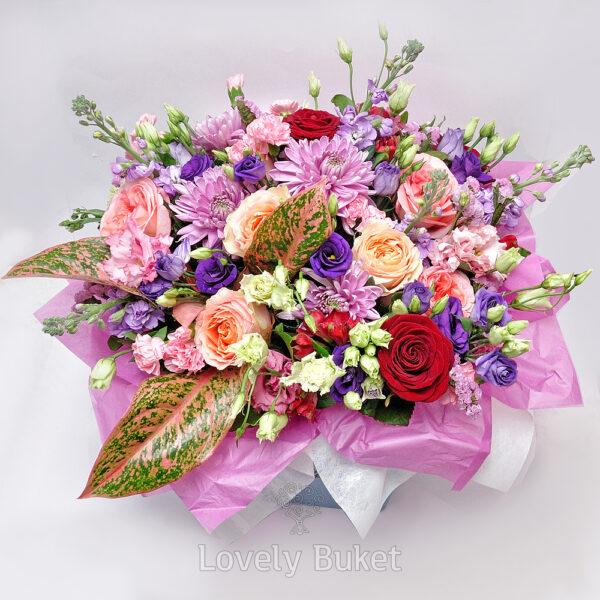"""Цветочная композиция в шляпной коробке с цветами """"Du Soleil"""" - фото 4"""