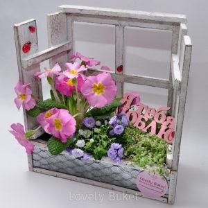 """Цветочная композиция """"Сад на крыше"""" в деревянном ящике - фото 1"""