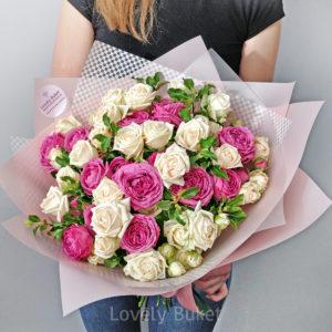 """Букет кустовых роз """"Bubbles"""" - фото 1"""