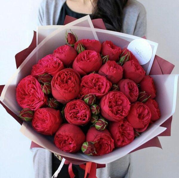 Букет английских красных пионовидных роз - фото 1
