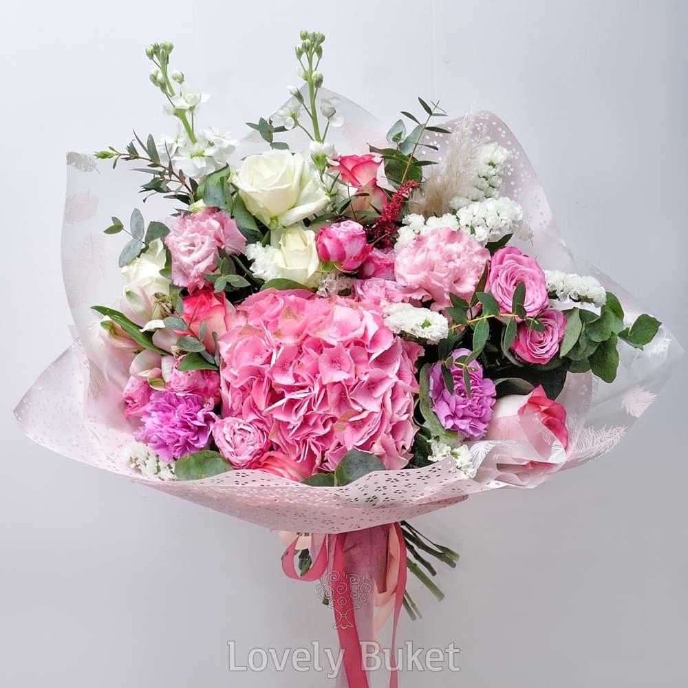 Букет Букет с белоснежной статицей и розовой гортензией, изображение 1