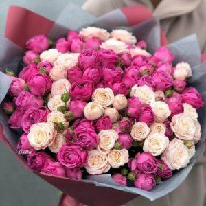 Букет кустовых пионовидных роз - фото 1