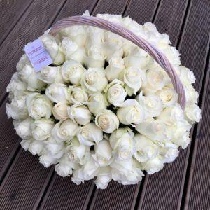 Цветочная композиция в корзине 101 роза Премиум - фото 1