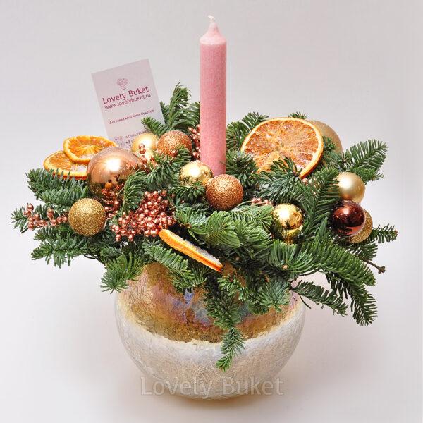Новогодняя композиция с дольками апельсина - фото 2