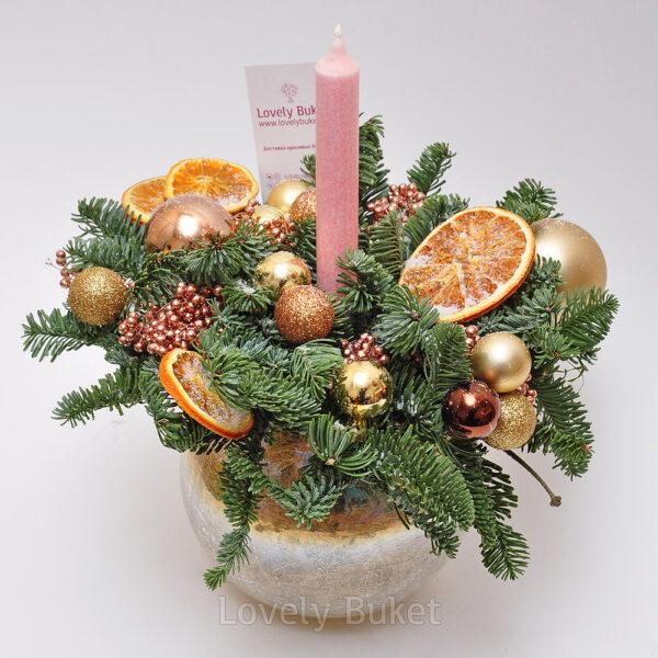 Новогодняя композиция с дольками апельсина - фото 1