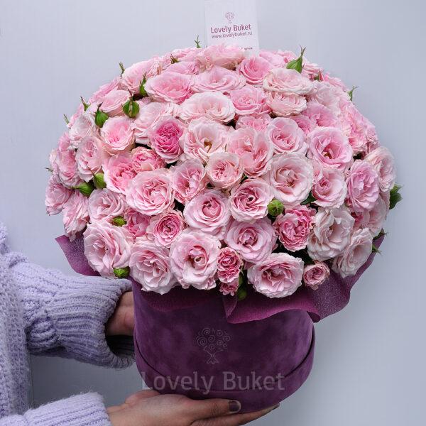 """Кустовой букет роз в коробке """"Розовый сад"""" - фото 2"""