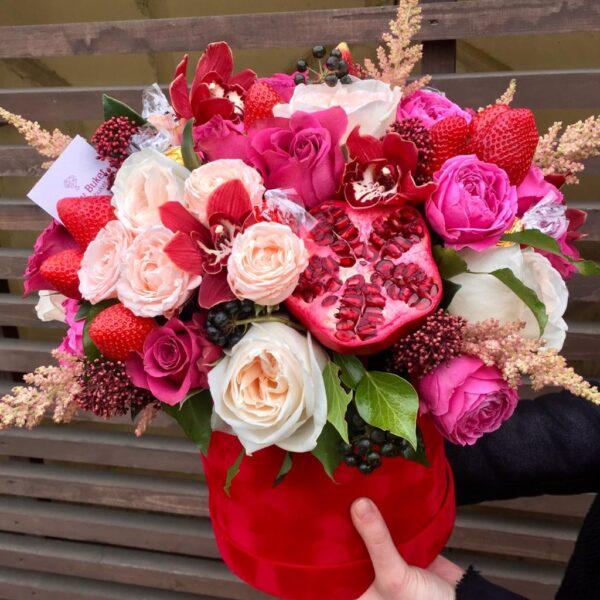 """Цветочная композиция в коробке """"Гранат и орхидеи"""" - фото 2"""