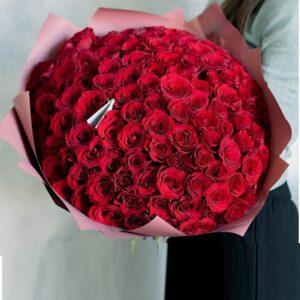 Высокие красные розы с крупными бутонами (Ecuador) - фото 1