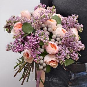Букет сирени с пионовидной розой Juliet и плодов - фото 1