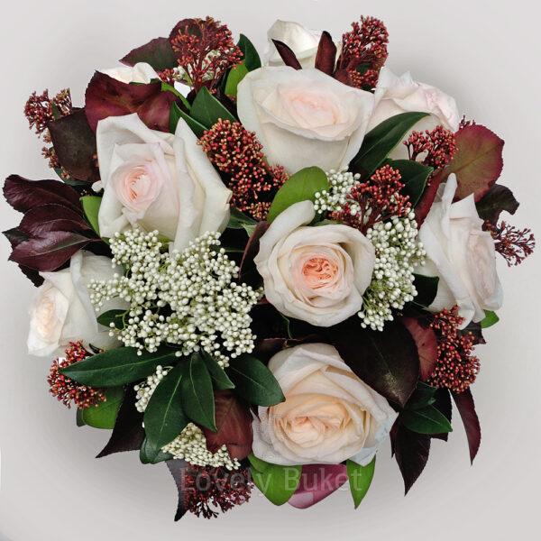 """Букет садовых роз и соцветия цветов """"Scarlett"""" в коробке - фото 2"""