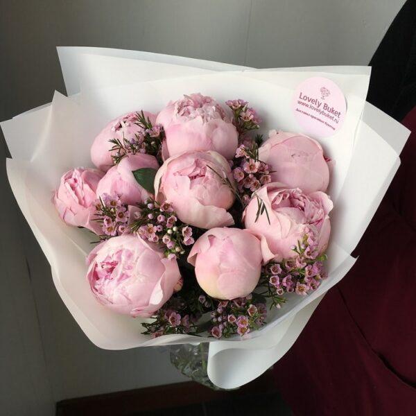 Розовые пионы и ароматный хамелациум - фото 1