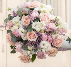 Винтажный букет из нежных роз, пионов , розового лимониума - фото 1