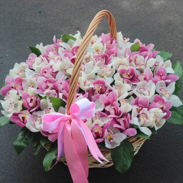 Цветочная композиция орхидей в корзине (любые цвета) - фото 2