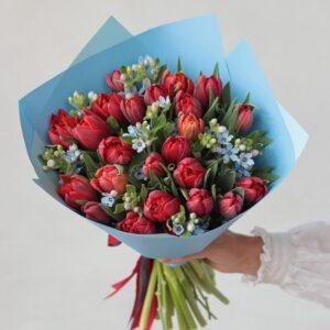Букет пионовидных тюльпанов с голубой оксипеталум - фото 1