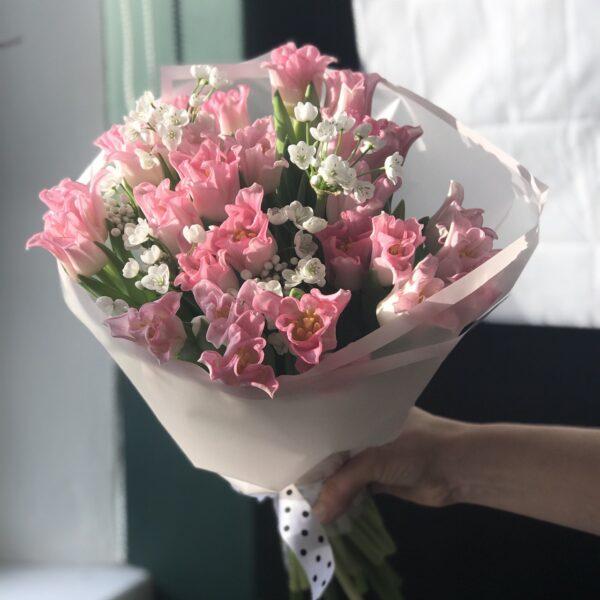 Букет тюльпанов Тоукан и белый аллиум - фото 3
