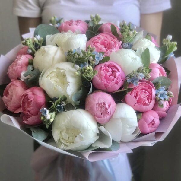 Букет из белых и нежно розовых пионов с голубым оксипеталумом - фото 1