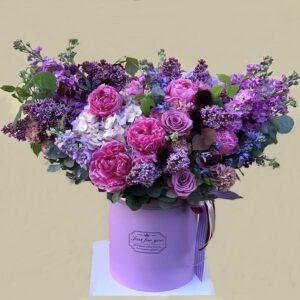 """Цветочная композиция """"Византия"""" в сиренево-пурпурных оттенках с пионами - фото 1"""