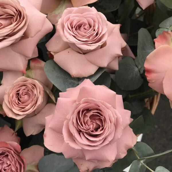 Объемная композиция из сортовых кофейных роз с листьями цинерии - фото 2