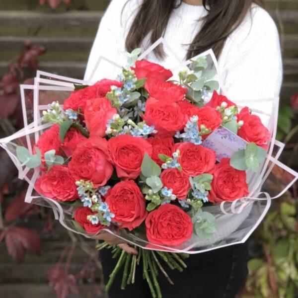 Эксклюзивные коралловые розы с веточками оксипеталума. - фото 3